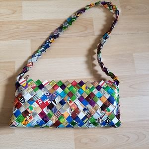 CANDY WRAPPER upcycled woven handbag